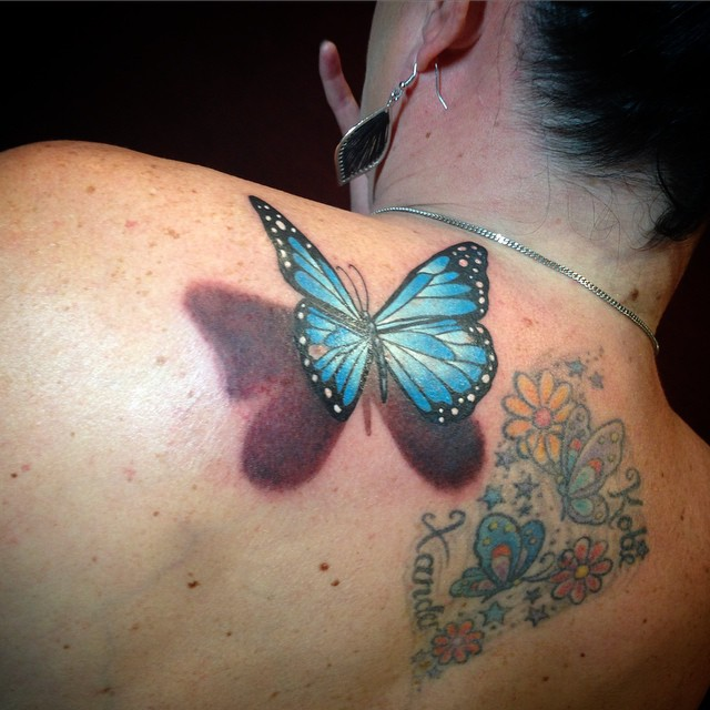3d Butterfly Tattoos with Flowers