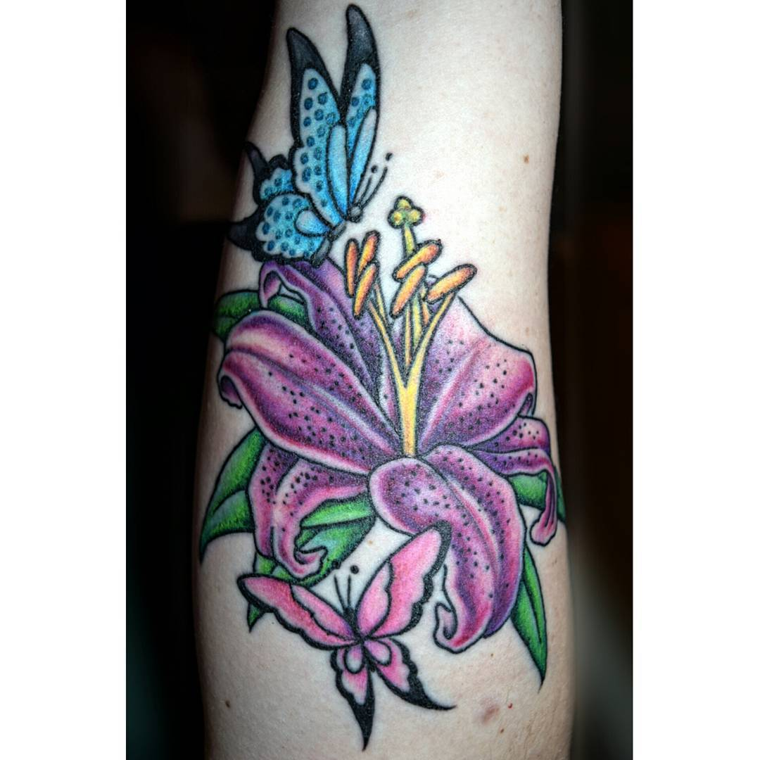 Beautiful Butterfly Tattoo with Lily Flower