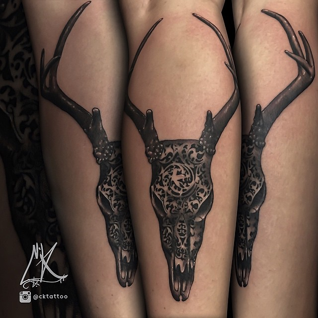 Black and Gray Deer Skull Tattoos
