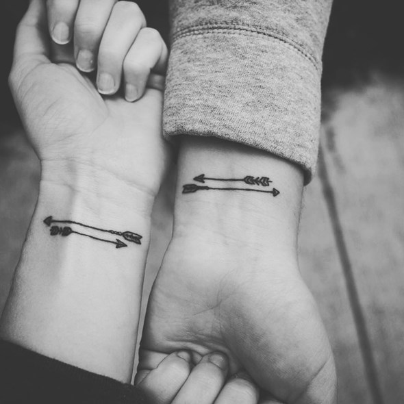 Brother and Sister Arrow Wrist Tattoo