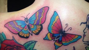 Butterfly Tattoos with Flower Designs on Back via