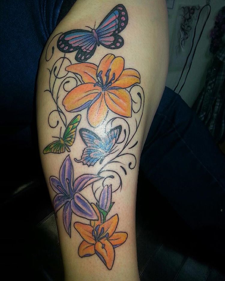 Butterfly Tattoos with Flower Designs
