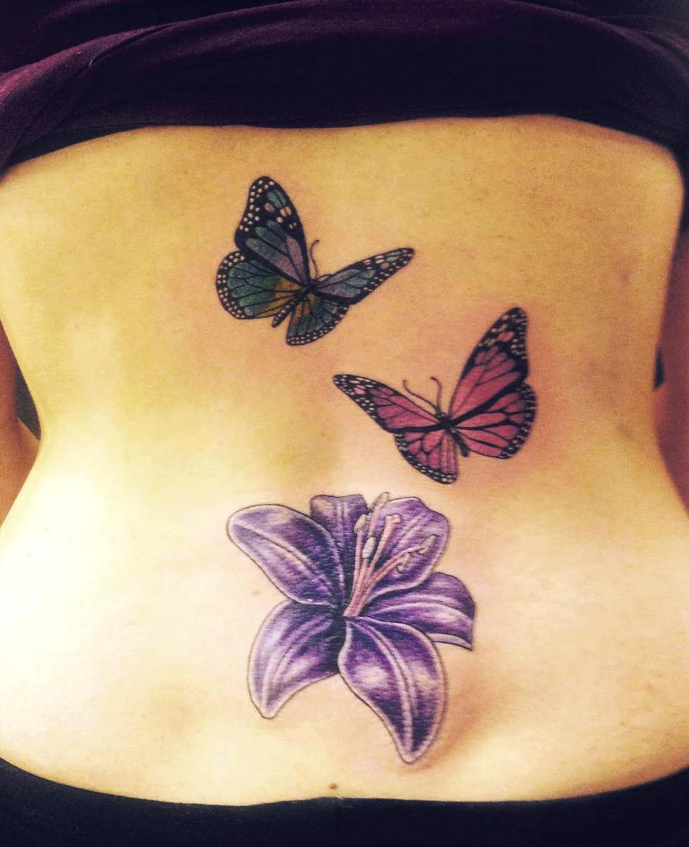 Butterfly Tattoos with Flower on Lower Back