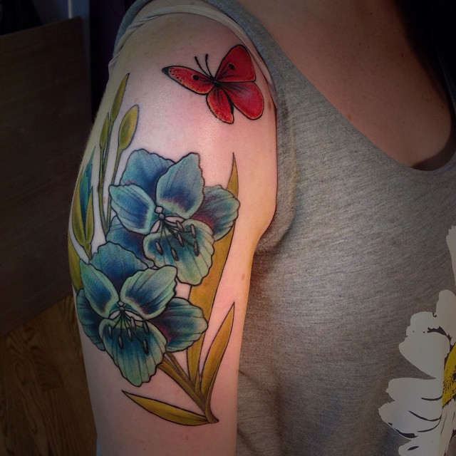 Butterfly Tattoos with Flowers Ideas