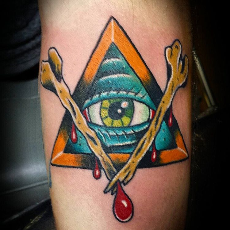 Colorful Bone Pyramid Tattoo