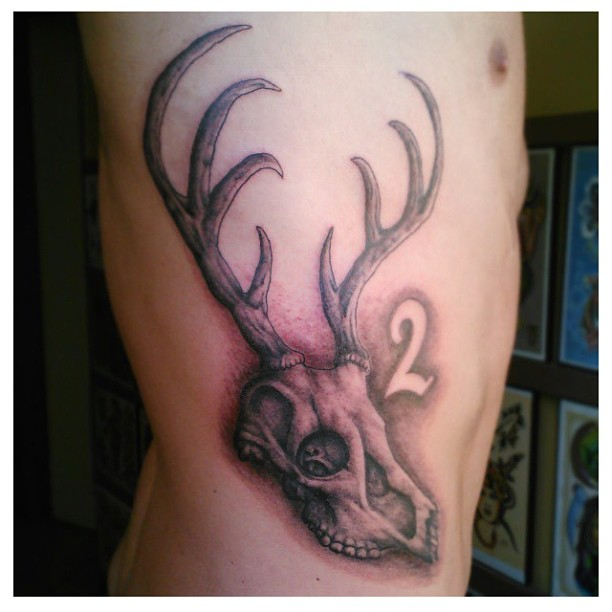 Deer-Head-Skull-Tattoos-on-Rib