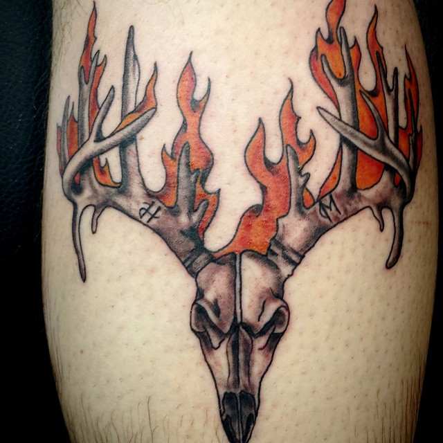 Deer Skull Tattoos with Flames