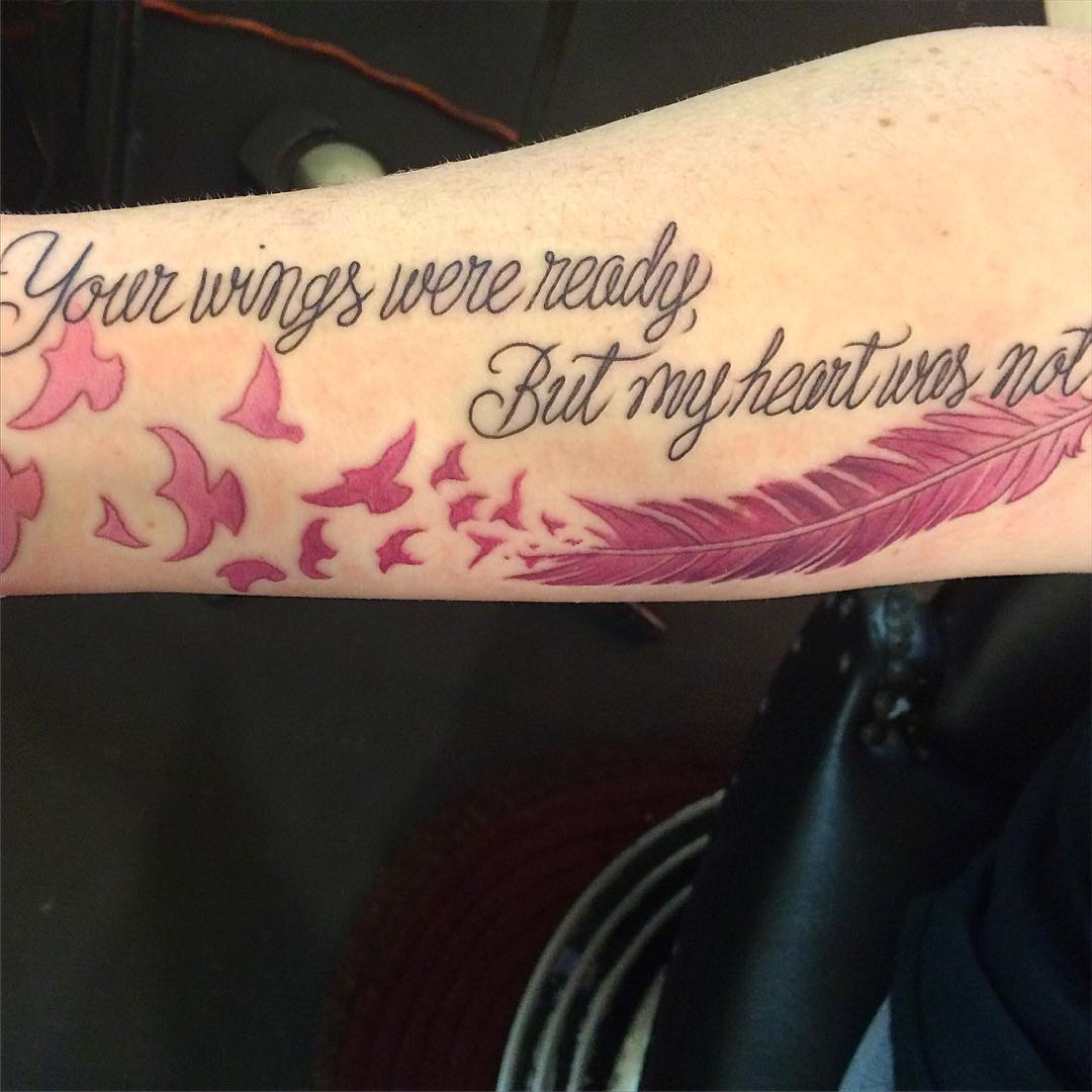 Feather tattoos with sayings