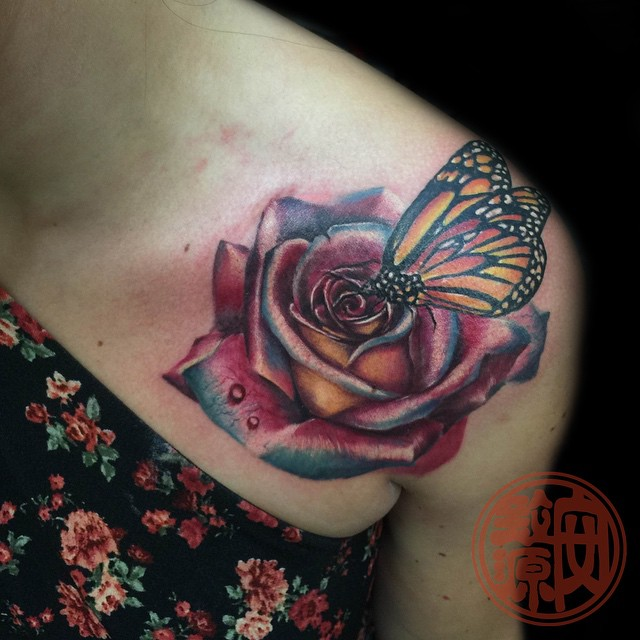 Feminine Rose Flower and Butterfly Tattoo