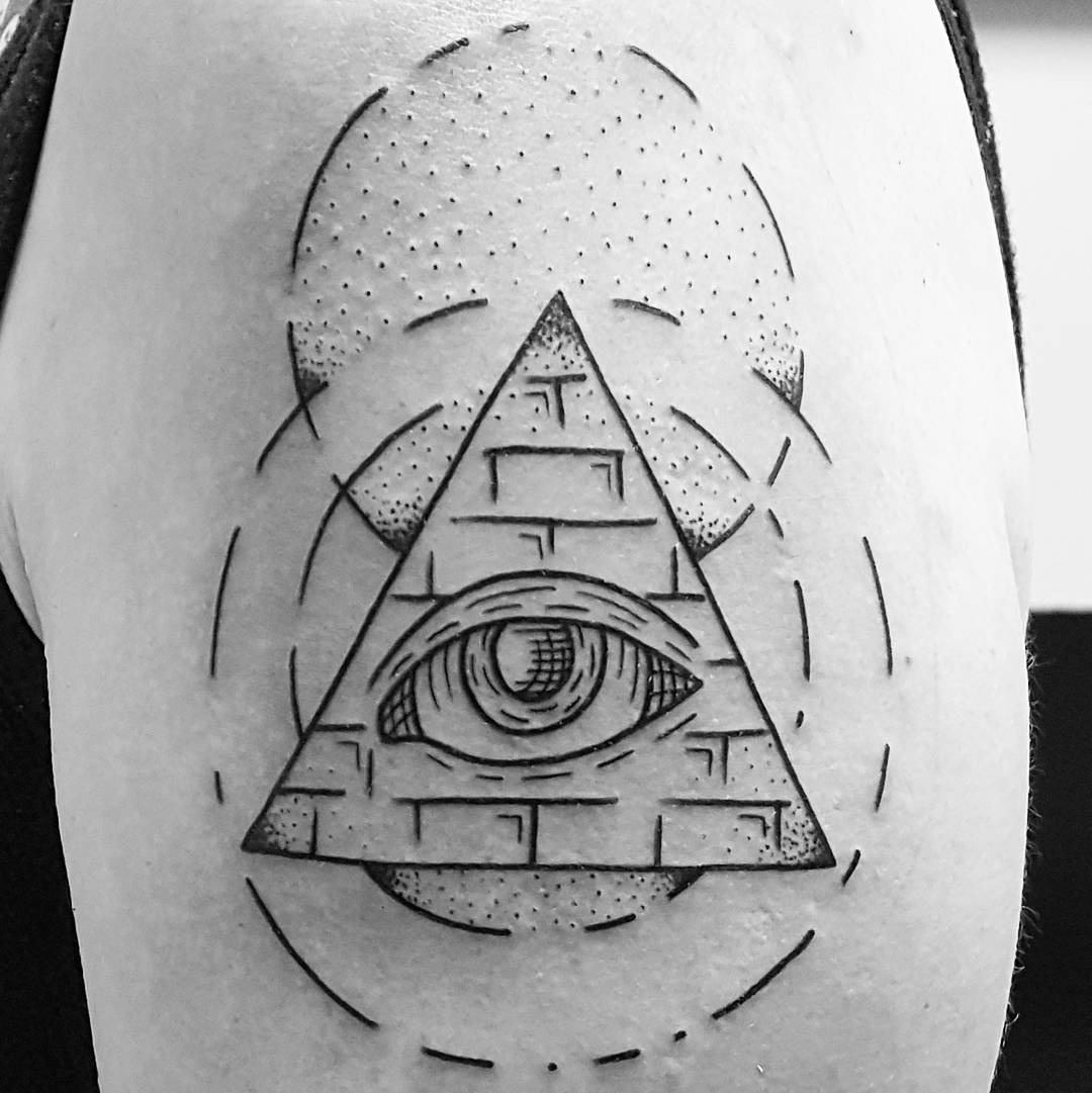 Geometric Pyramid Tattoo