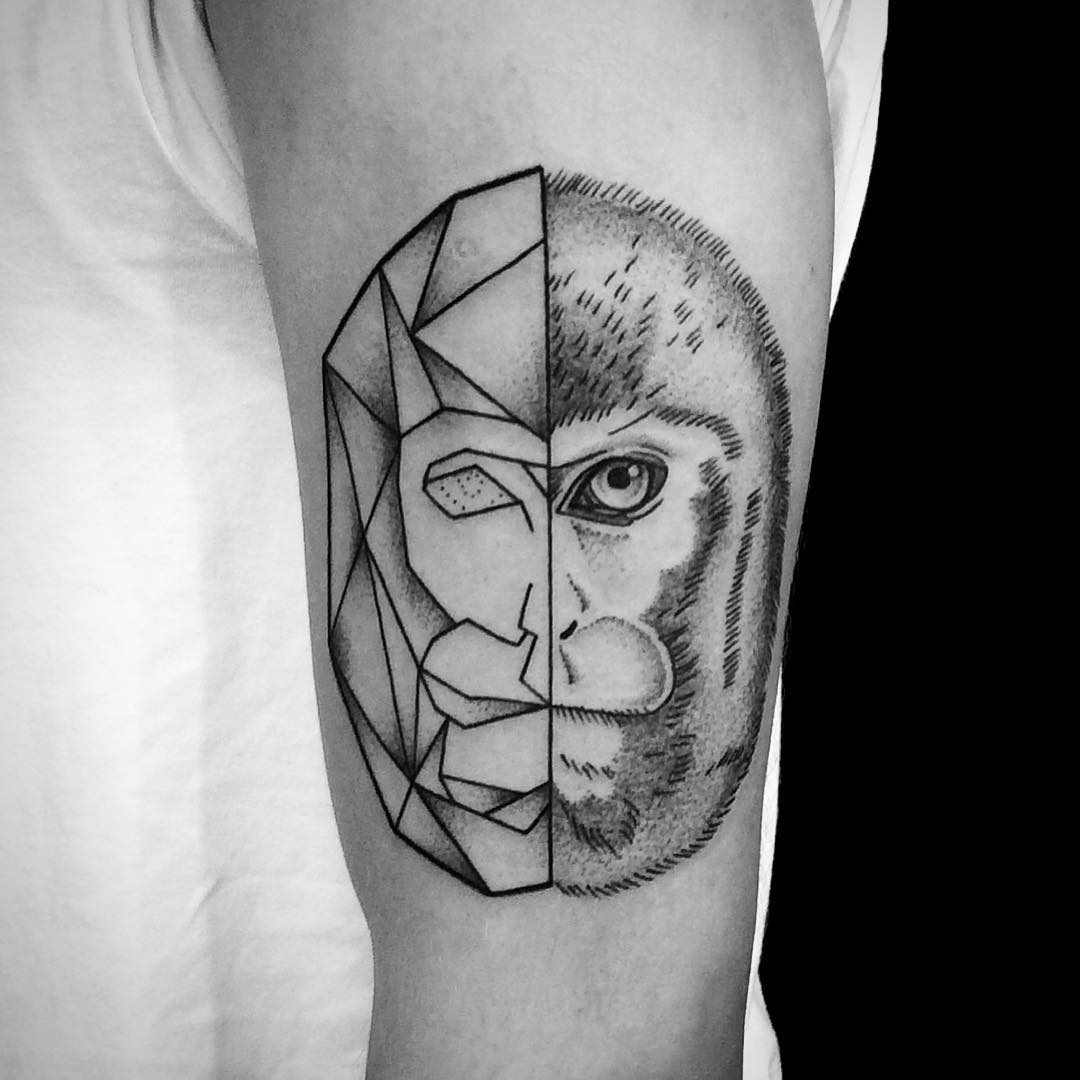 Geometric Snow Monkey Tattoo