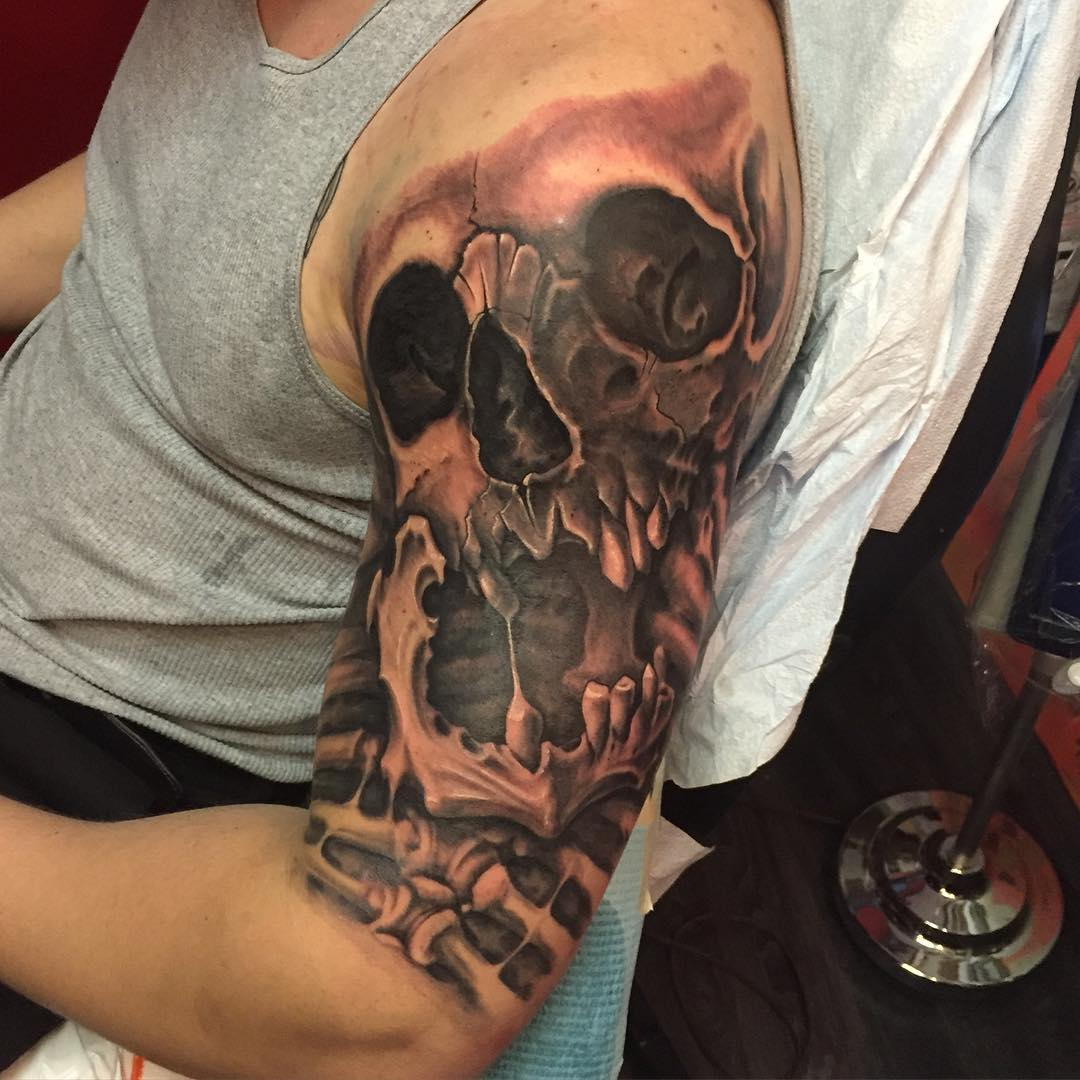 Trendy and creative half sleeve tattoo designs to never for Skull tattoos for men sleeves
