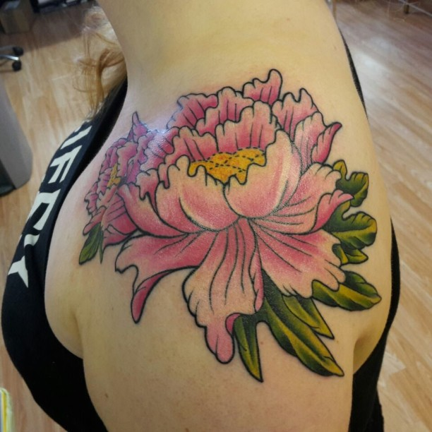 Japanese Tattoo Flower on Shoulder