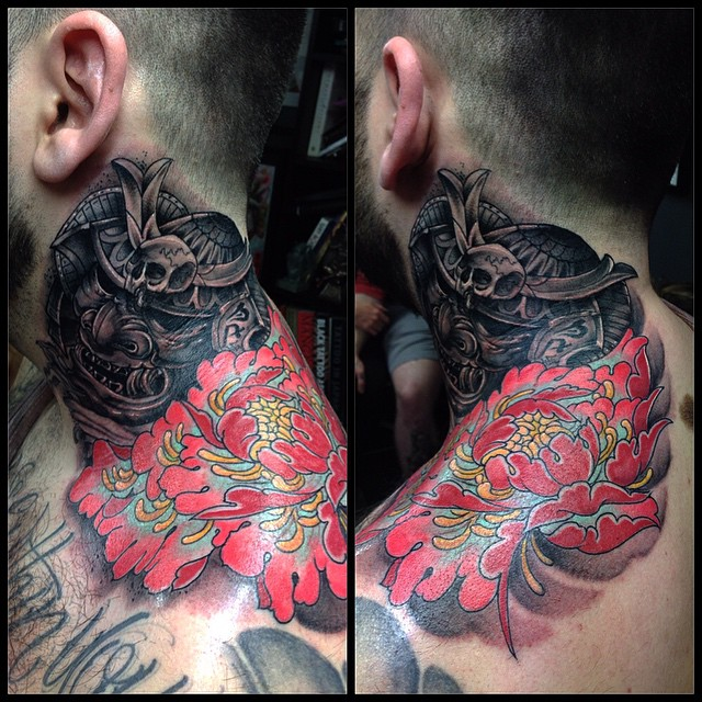 Japanese red flower tattoo on neck
