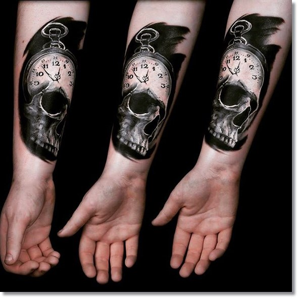Skull pocket watch tattoo design on sleeve