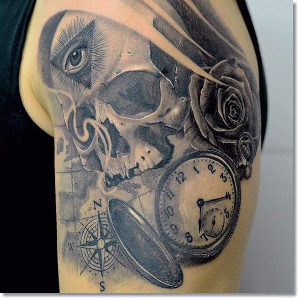 Skull pocket watch tattoo ideas