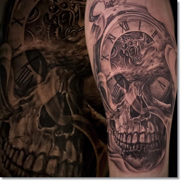 Skull pocket watch tattoo meaning