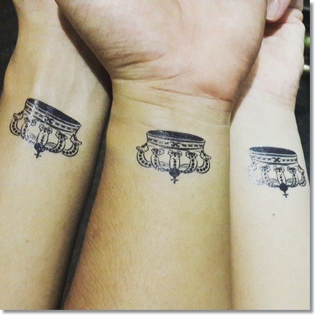 Small Crown Tattoo For Best Friend and Sisters