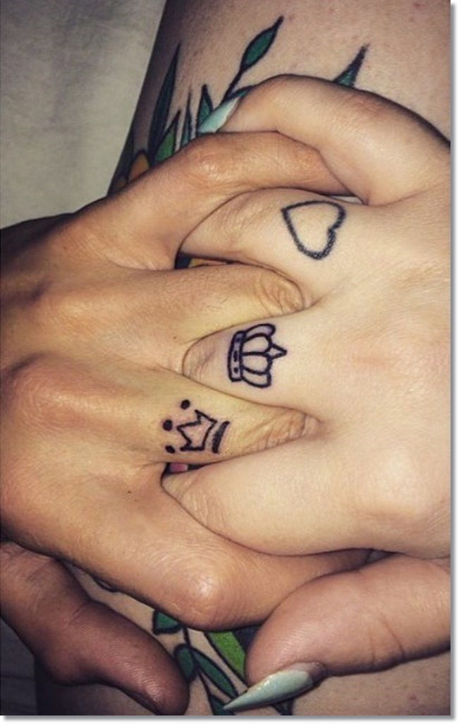 Finger Tattoo Small Crown for Couples