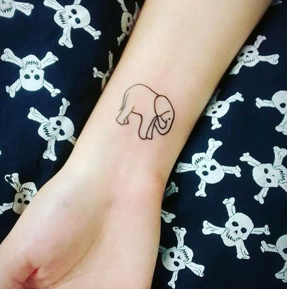 Tiny Small Elephant Tattoo