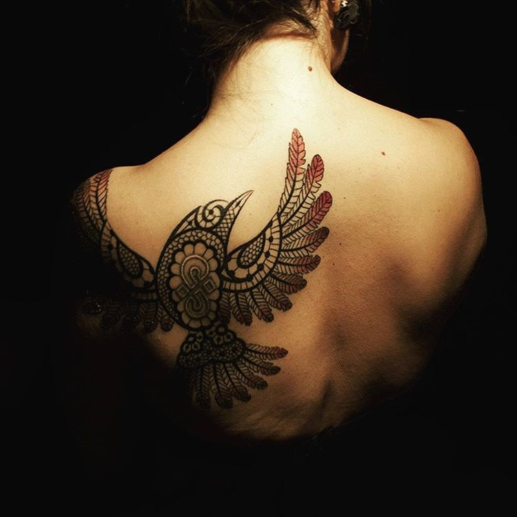 Tribal Bird Lace Tattoo on back for Women