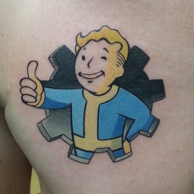 Vault boy from fallout 4 tattoos
