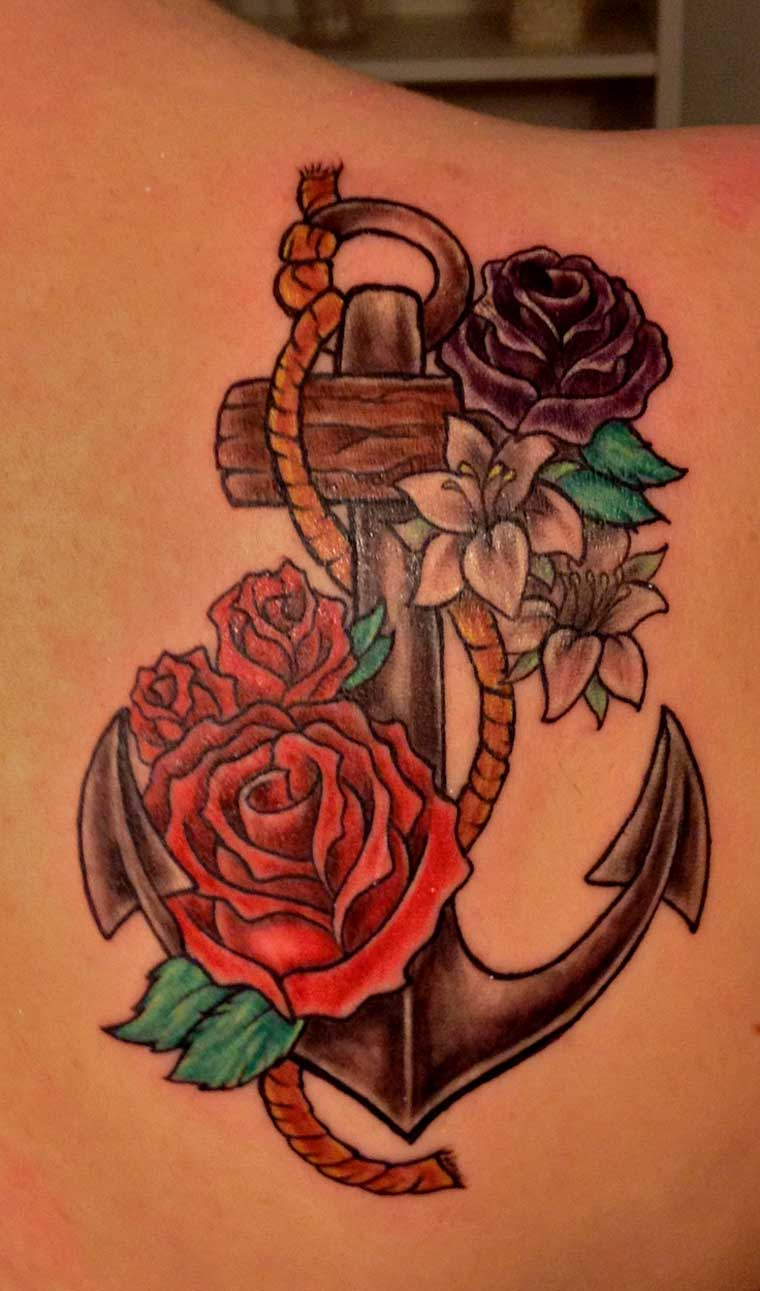 anchor-tattoos-with-flower-on-back