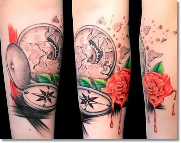 best broken pocket watch tattoo design with flower