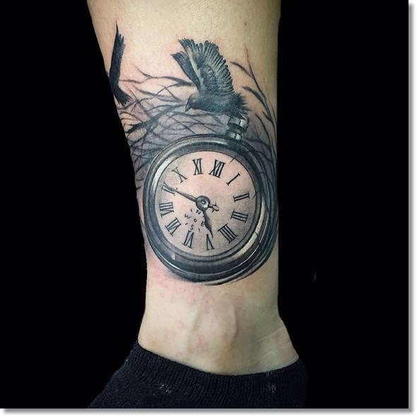 best pocket watch tatto with bird