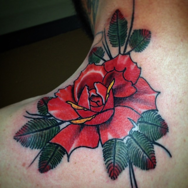 best rose on shoulder tattoo
