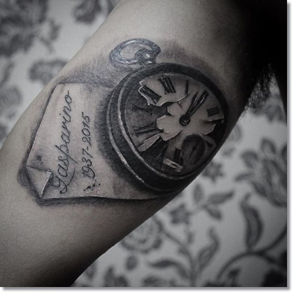black and grey broken pocket watch tattoo design ideas