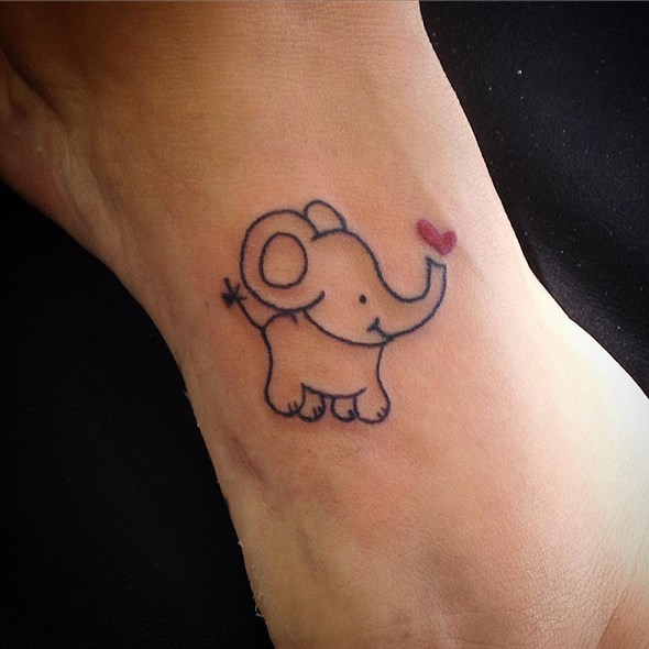 Small Grey Tattoo: 30 Adorable Tiny Elephant Tattoo