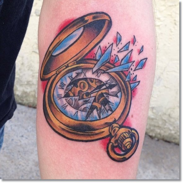 broken antique pocket watch tattoo designs