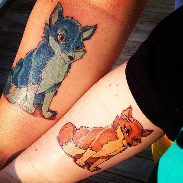 brother and sister fox tattoos