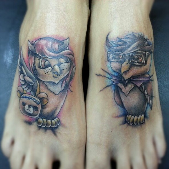 brother and sister owl tattoos