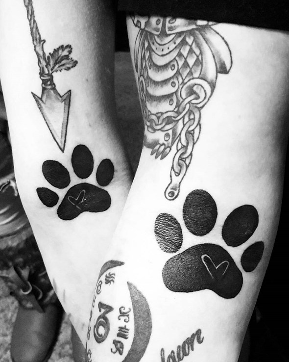 brother and sister paw tattoo