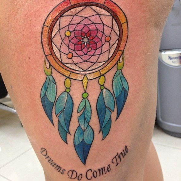 dreamcatcher tattoo on thigh tumblr