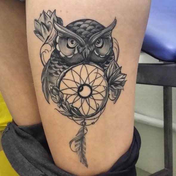 Dream Catcher Tattoos For Girls Classy 60 Stunningly Dreamcatcher Tattoo On Thigh