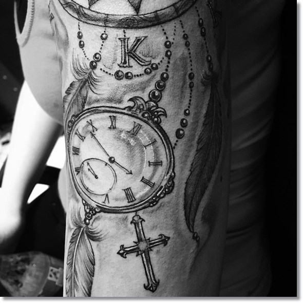 dreamcatchers pocket watch tattoo