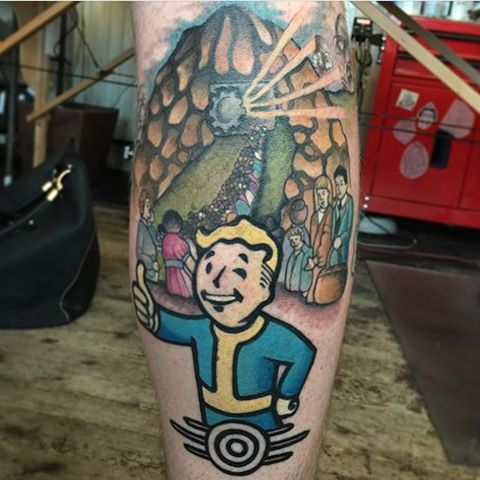 fallout tattoos on leg