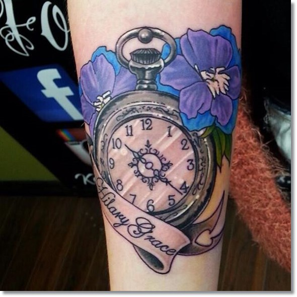 flower and pocket watch tattoo designs