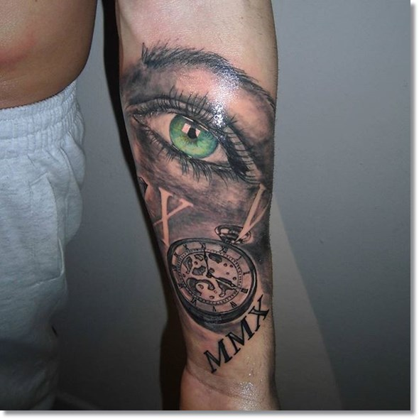 forearm pocket watch tattoos