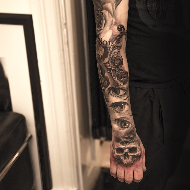 Full sleeve skull and eyes and tattoo ideas for men for Clean rock one tattoos