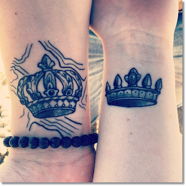 matching crown tattoo for couples on wrist