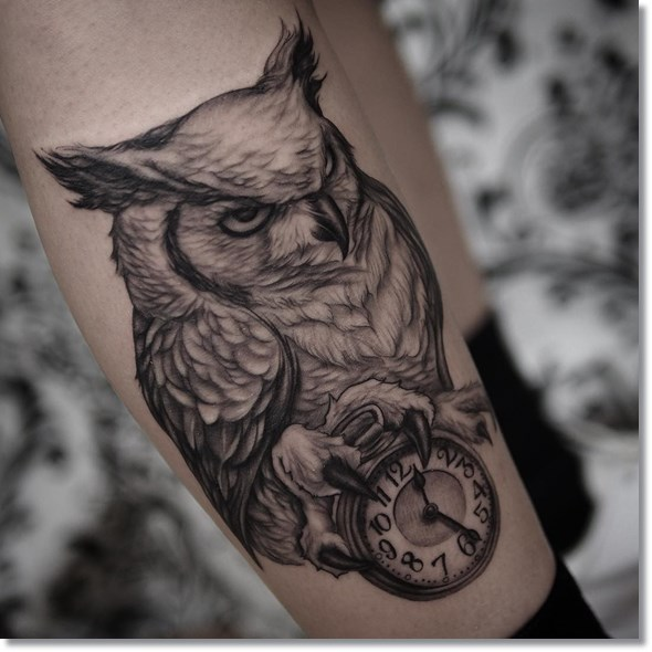 Owl And Pocket Watch Tattoo Designs