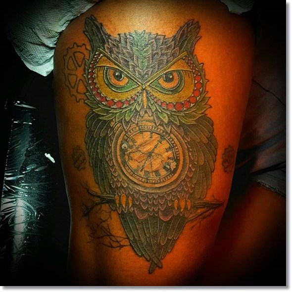 owl with pocket watch tattoo meaning