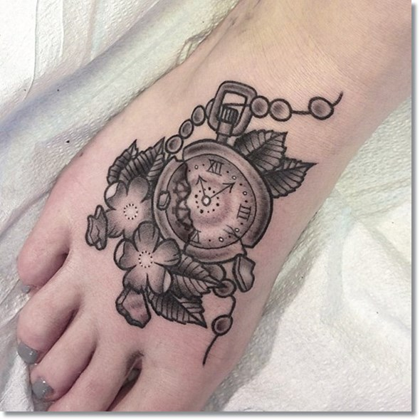 pocket watch broken tattoo design on foot