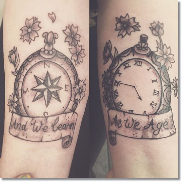 pocket watch compass tattoo ideas on wrist