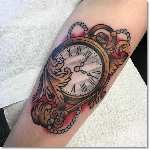 pocket watch tattoo design with key