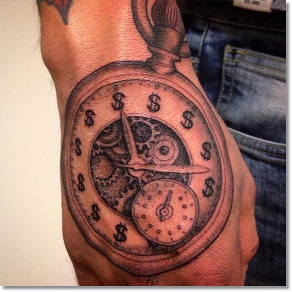 pocket watch tattoo designs on hand